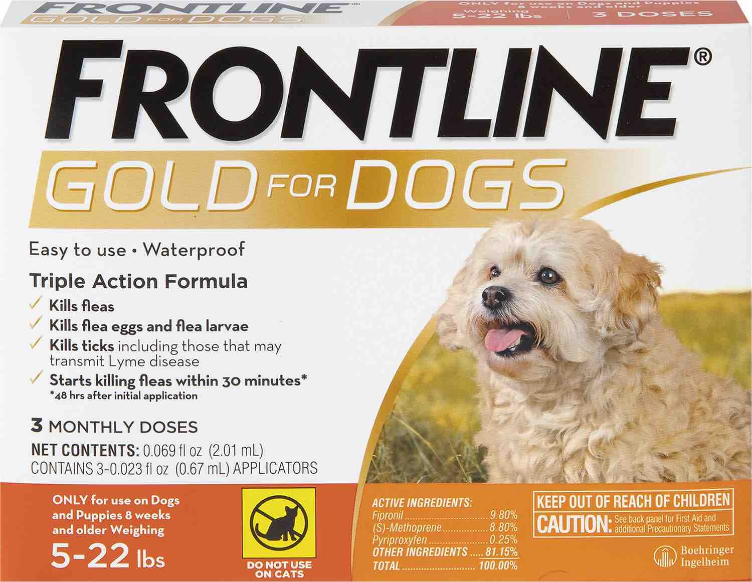 Frontline Gold for Dogs 3 doses 5-22 lbs (Orange) 1