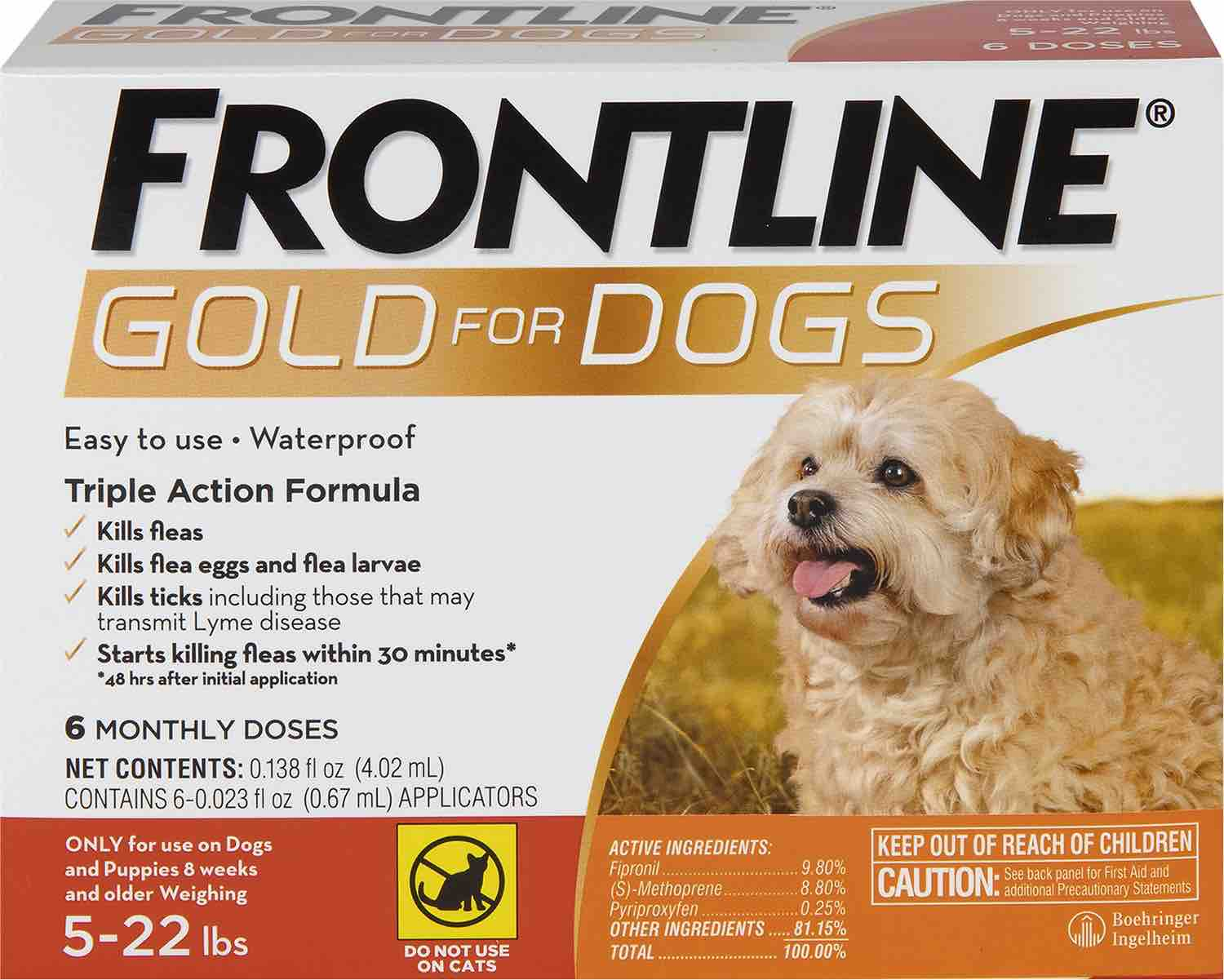 Frontline Gold for Dogs 6 doses 5-22 lbs (Orange) 1
