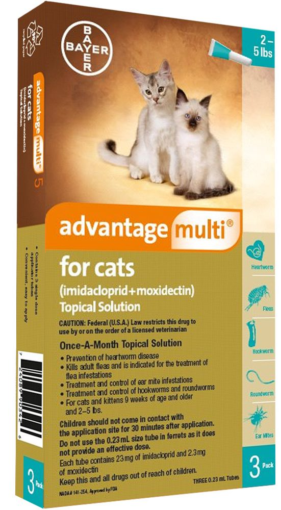 Advantage Multi for Cats 3 doses 2-5 lbs (Turquoise) 1