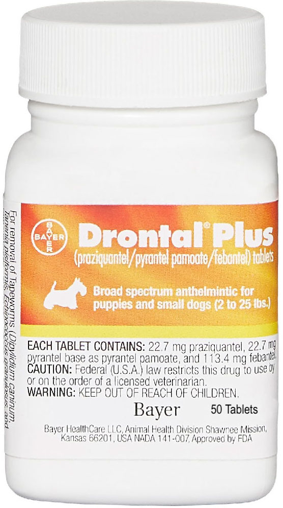 Drontal Plus 50 tablets for small dogs & puppies 2-25 lbs 1