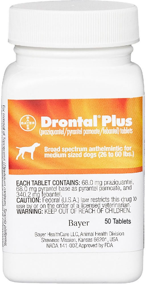 Drontal Plus 50 tablets for medium dogs 26-60 lbs  1