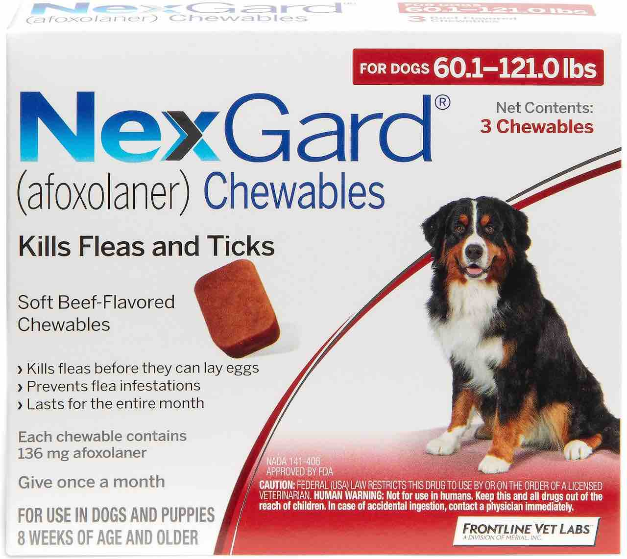 NexGard 3 chewables for dogs 60.1-121 lbs (Red) 1