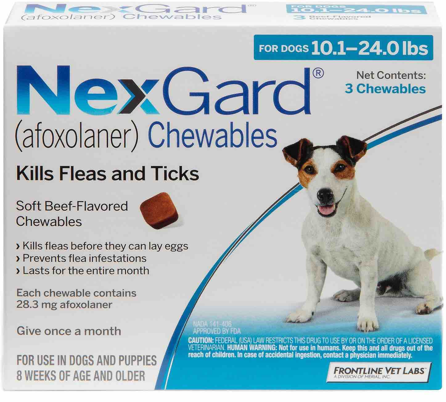 NexGard 3 chewables for dogs 10.1-24 lbs (Blue) 1