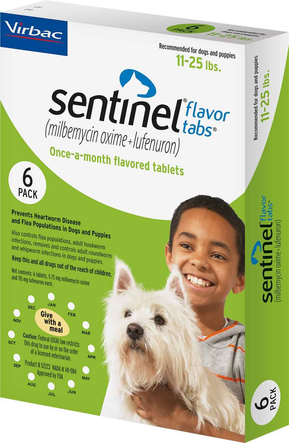Sentinel Flavor Tabs 6 count for dogs 11-25 lbs (Green) 1