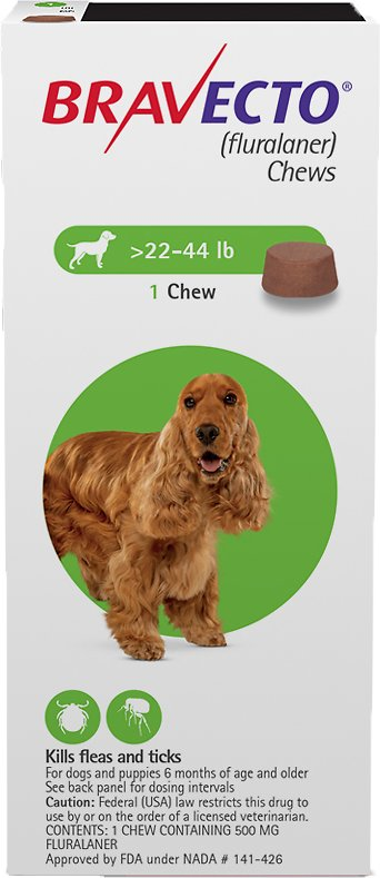 Bravecto Chews 1 chew for dogs 22-44 lbs (Green) 1
