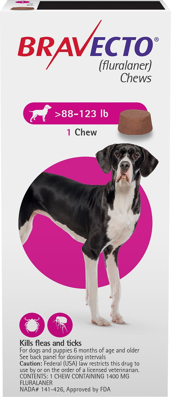 Bravecto Chews 1 chew for dogs 88-123 lbs (Pink) 1