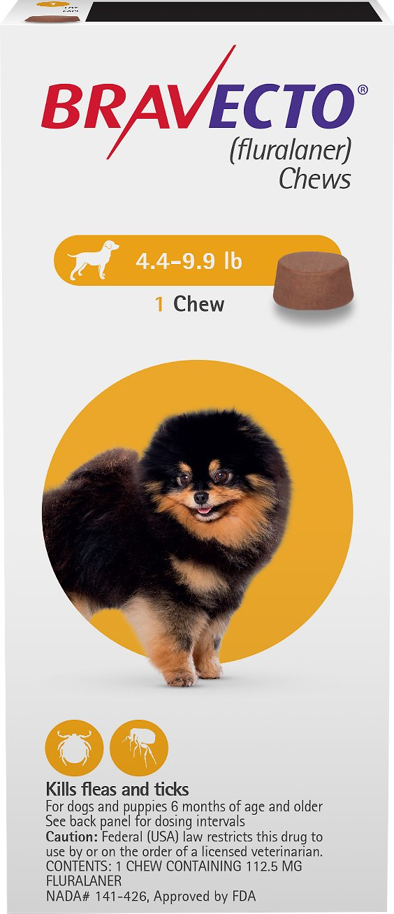 Bravecto Chews 1 chew for dogs 4.4-9.9 lbs (Yellow) 1