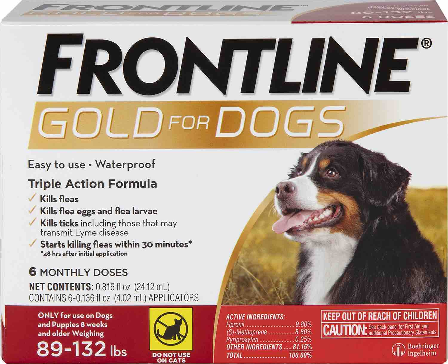 Frontline Gold for Dogs 6 doses 89-132 lbs (Red) 1