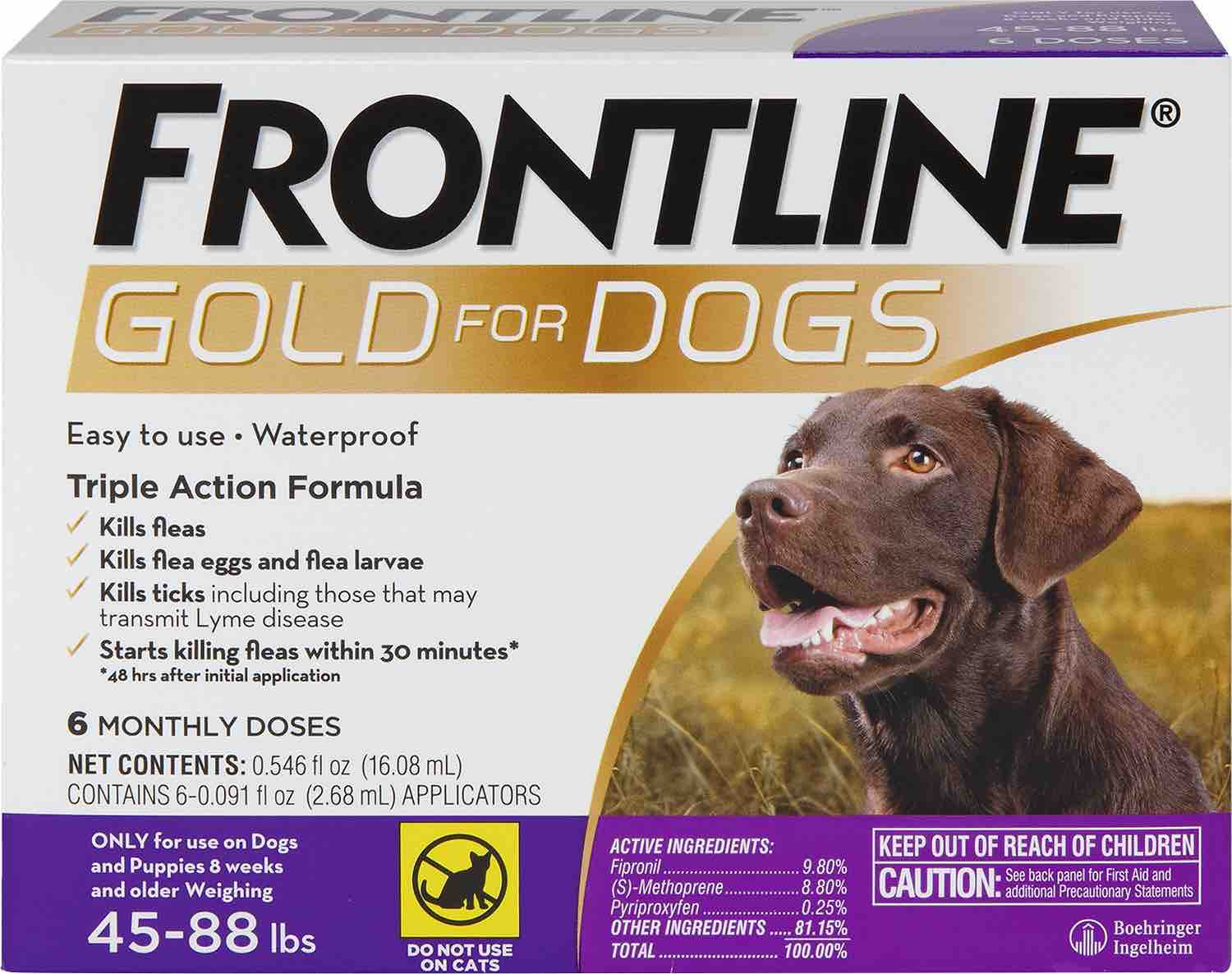 Frontline Gold for Dogs 6 doses 45-88 lbs (Purple) 1