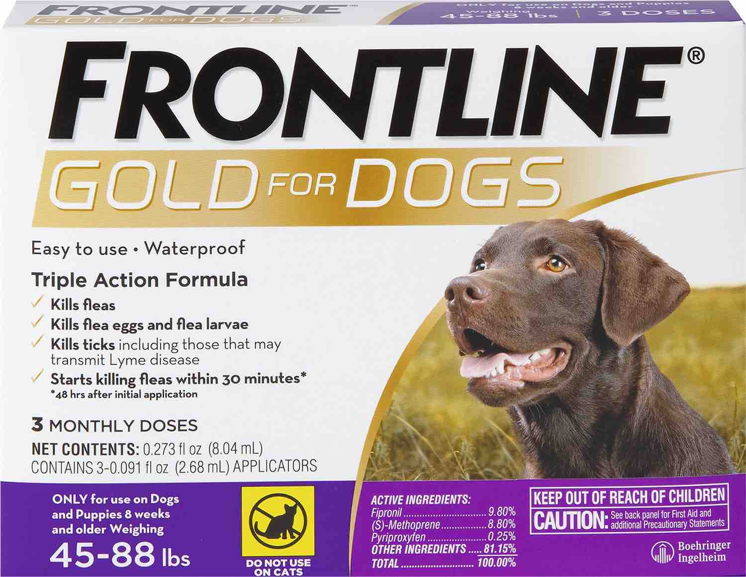 Frontline Gold for Dogs 3 doses 45-88 lbs (Purple) 1