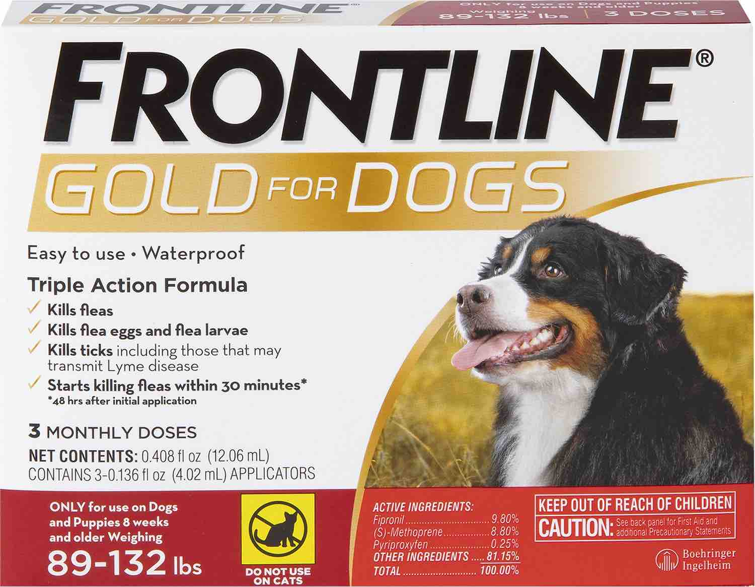 Frontline Gold for Dogs 3 doses 89-132 lbs (Red) 1