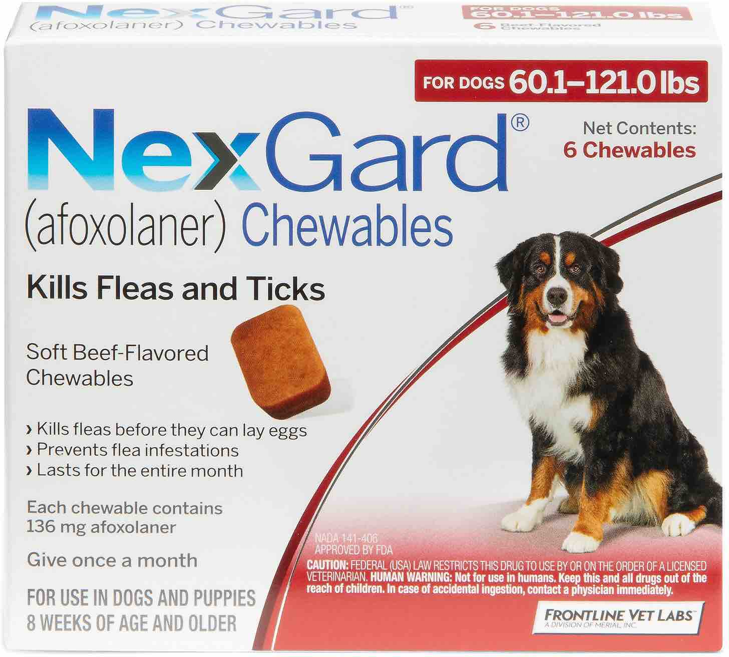 NexGard 6 chewables for dogs 60.1-121 lbs (Red) 1